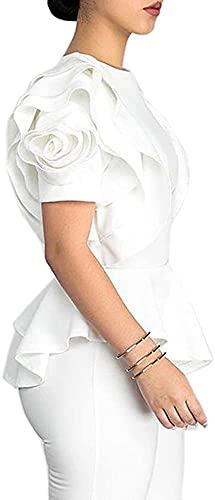 Blansdi Women Round Neck Ruffle Short Sleeve Peplum Bodycon Blouse Shirts Tops Crewneck-White XXLarge, US XL