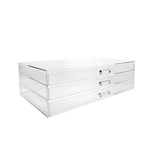"Ikee Design Premium Acrylic 3 Drawer Makeup Organizer Cosmetic Storage Jewelry Display Case, 14 1/2""W x 8 1/4""D x 4 1/2"" H"