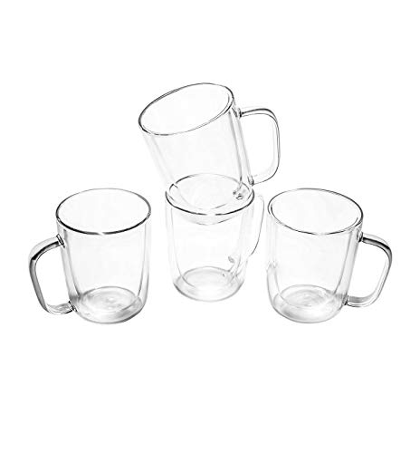 HOTPOT Double Walled Glass Coffee mugs set of 4 clear Coffee cups.12 oz latte Mug set,Tea cups ,Espresso cups, Cappuccino Cups,Glass Mugs for Hot Drinks. Insulated cups Borosilicate Glass Cup Set.