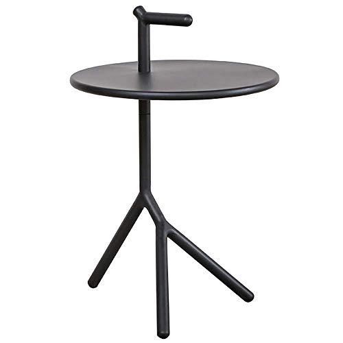 PAKUES-QO Wrought Iron Side Table Creative Living Room Sofa Tall Corner Tables Modern Bedside Small Round Table Compact Couch Coffee Vase Snack Dinner Tray Tables(Color:Green)