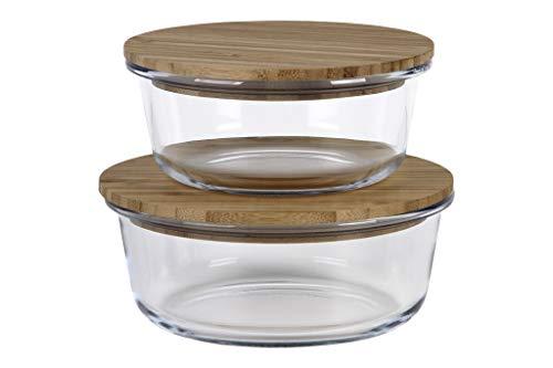 Set de 2 recipientes vidrio redondos para alimentos. Contenedor de Vidrio con Tapa de Bambú. 2 Fiambreras sin BPA.