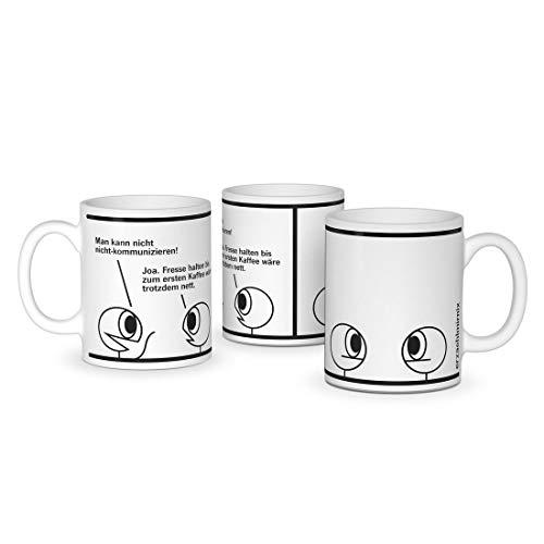 Erzaehlmirnix Becher Fresse halten bis zum ersten Kaffee - Lustige Tasse für Fans der Nadja Hermann Comics - Offizielles Lizenzprodukt - Keramik 300 ml