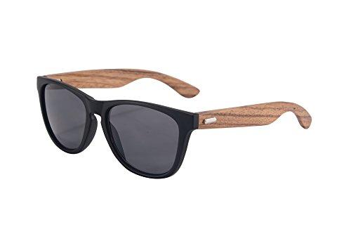 SHINU Wooden Sonnenbrille UV400 Verspiegelten Bunten Flash-Spiegel-Objektiv-Holz Brillen-Z6100(matte black-zebra wood, grey)