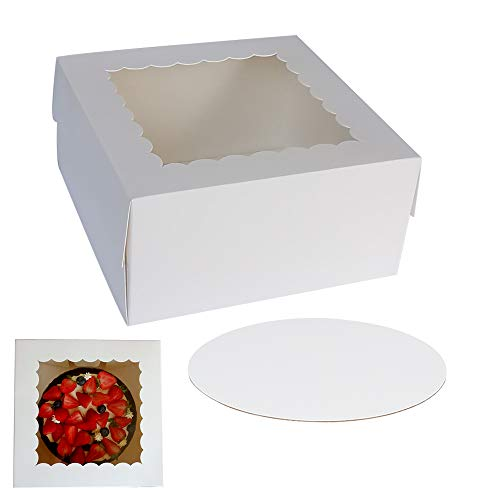 "10"" x 10"" x 5"" Cake Boxes With Window & 10"" Round Cake Boards(10 Pack Of Each), Paperboard Cake Baker Box For Bakery, Cakes, Pastries By ZMYBCPACK"