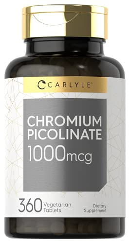 Ultra Chromium Picolinate 1000mcg | 360 Tablets | Supports Weight Management | Vegetarian, Non-GMO, Gluten Free | by Carlyle