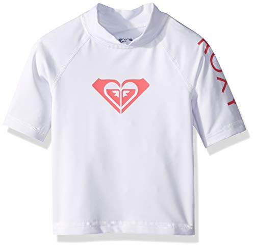 Roxy Girls' Toddler Whole Hearted Short Sleeve Rashguard, Bright White, 2