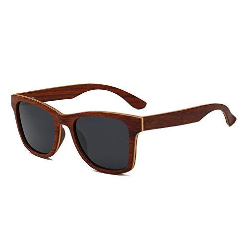 WOXING Madera Polarizadas Gafas De Sol,Clásico Rectangulares Gafas,Hombre Mujere Vintage Retro,UV 400 Protección Gafas Ciclismo Conducir Correr Compras-B 14.2x4.9cm(6x2inch)