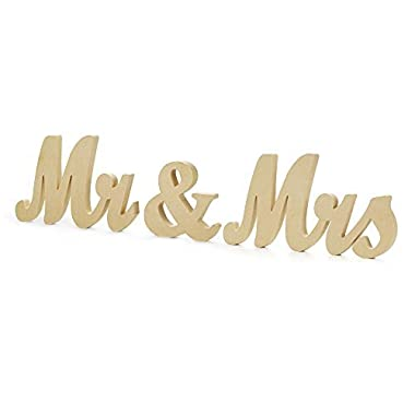 Mr & Mrs Letters Sign - Vintage Style Wooden DIY Decor for Wedding Decoration Table Decor