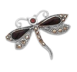 Pin de la libélula de piedras de ónix negro y granate