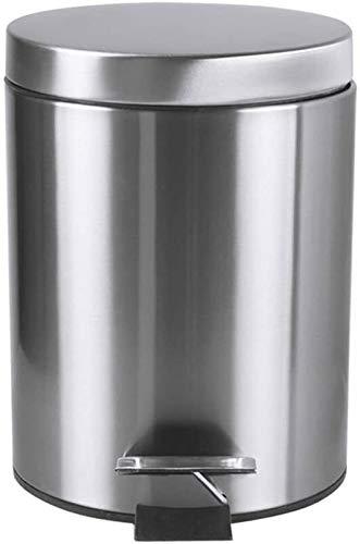Pedaal Prullenbak Dikke roestvrijstalen verf Home Keuken Badkamer Rust Afdingende overdekte Prullenbak (Kleur: Roze, Grootte: 5L) (Color : Silver, Size : 5L)