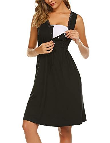 Unibelle Damen Umstandskleid Stillnachthemd Sleepshirt Umstands-Nachthemd(Schwarz,M)