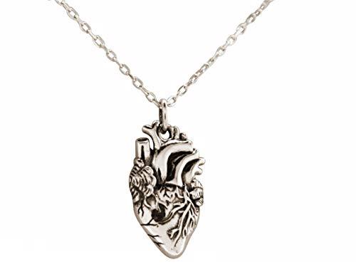 Gemshine Halskette anatomisches Herz für Doktor, Arzt, Krankenschwester, Biologe, Organspender 925 Silber, vergoldet oder rose. Qualitätsvoll, Made in Spain, Metall Farbe:Silber