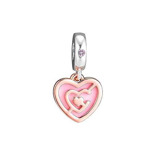 LILANG Pandora 925 Schmuck Armband Natural Pink Heart Labyrinth Dangle Charm Sterling Silber Roségold Perlen Frauen DIY Geschenk
