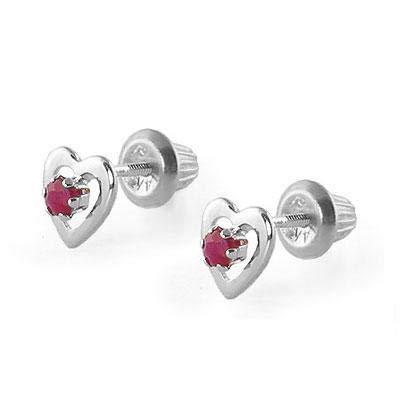 Kids 14K White Gold July Birthstone Ruby Heart Earrings For Girls