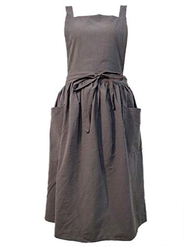 Women Girls Vintage Apron Adjustable Gardening Works Cross Back Cotton/Linen Blend Aprons Pinafore Dress with Two Pockets (grey, one size)