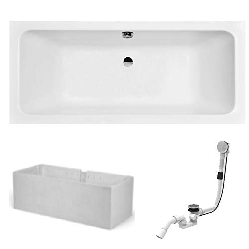 Hoesch Badewanne PLAN | Design Badewanne | mit Mittelablauf | Acryl | 180x80cm | Komplettpaket mit Styroporträger und Ablaufgarnitur