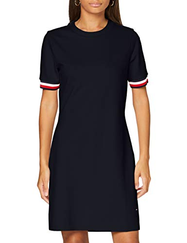 Tommy Hilfiger Damen Thea C-nk Dress Ss Kleid, Blau (Desert Sky Dw5), 36 (Herstellergröße: Medium)