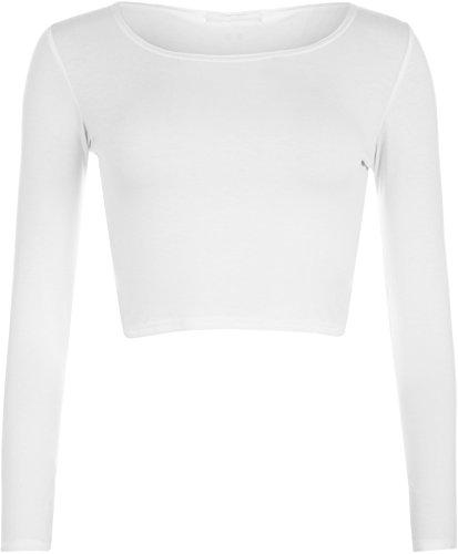WearAll - Neu Damen Cropped Langarm T Shirt Kurz Schmucklos Rundhalsausschnitt Top - Weiß - 36/38