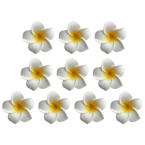 ABOOFAN Pinza de Pelo de Cocodrilo de Flor de Huevo Barrettes de de Pato Abrazaderas Hawaianas Luau Fiesta Tocado Playa Vacaciones Decoración para Mujeres Amarillo 10 Piezas