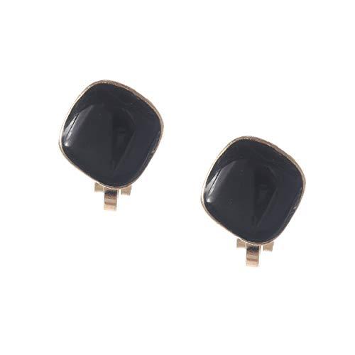 Idin Jewellery - Pendientes de clip con forma de diamante, esmalte negro