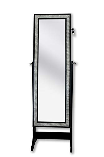 Iconic Home Glitzy Contemporary Elegant Black Crystal-Border Cheval Mirror Jewelry Armoire