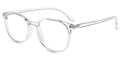 Firmoo Gafas Luz Azul para Mujer Hombre, Gafas Filtro Antifatiga Anti-luz Azul y contra UV400 Ordenador de Gafas Montura TR90 para Protección los Ojos, L1025 Transparentes