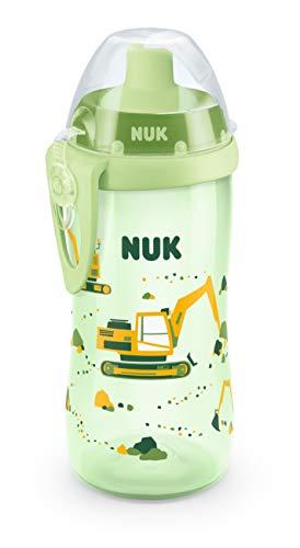 NUK Flexi Cup Soft drinkhalm-beker met siliconen rietje 300 ml, lekvrij, vanaf 18 maanden, BPA-vrij groen