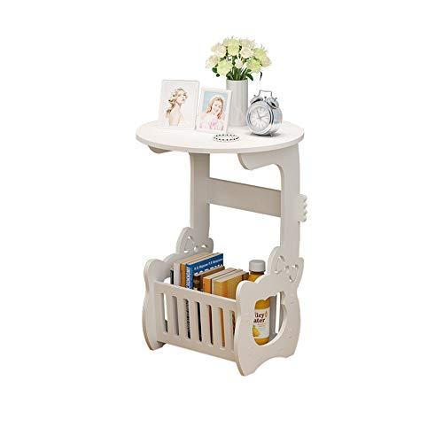 OTENGD Nachttisch Beistelltische Wohnzimmer, Plattenspieler Stand mit Ablage Regal Holzoptik Beistelltisch, Kleiner runder Tisch, Wohnzimmer Teetisch, weiß