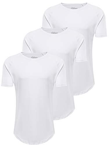 PITTMAN Herren T-Shirt 3er Pack Oversize Finn Sommer Rundhals Shirt Slim Fit Weiss Männer Tshirt weißes Kurzarm lang, Weiß (B. White 1106013), M