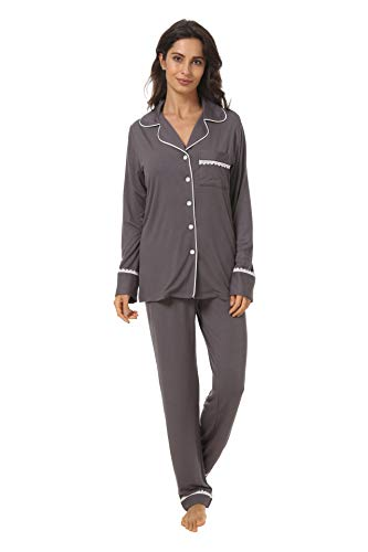 Espoir Womens Pajama Sets Button Down Long Sleeve Pj Pants Set Sleepwear