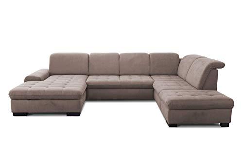 CAVADORE U-Form Lexi mit XXL-Longchair / Inkl. Bett, Stauraum und Kopfteilfunktion / Leichte Fleckenentfernung dank Soft Clean / 329 x 82-99 x 224 / Flachgewebe: Hellbraun