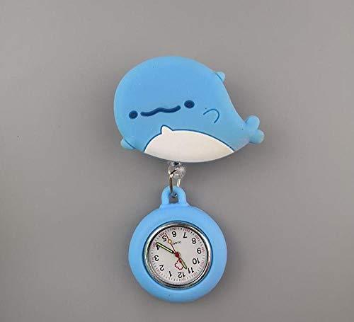 Relojes Silicona Enfermera,Reloj para Enfermera y médico, Reloj de Bolsillo con Cofre de Dibujos Animados retráctil-Ballena pequeña,Reloj Bolsillo de Broche en Silicona