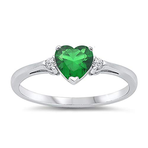 Oxford Diamond Co Simulated Emerald Heart & White Cubic Zirconia Ring Size 9