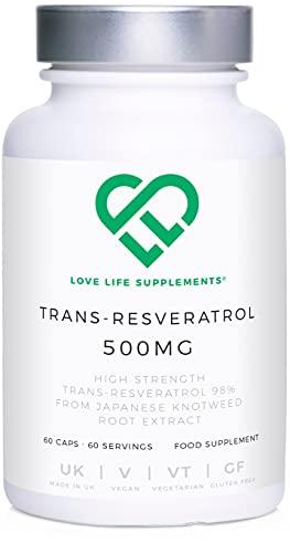 Love Life Supplements | Trans-Resveratrol ad alta potenza da LLS | 60 Capsule da 500mg / 60 Porzioni | Estratto della radice di poligono giapponese | Contenuto puro (niente aggiunto)