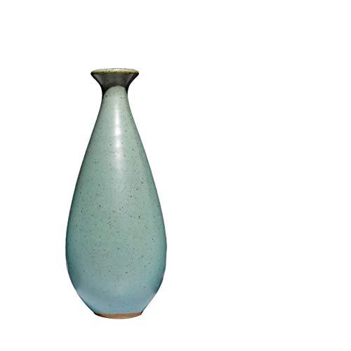 OYBB Estatuas Esculturas Adornos Estilo japonés Cerámica Retro Azul Zen Jarrón pequeño Flor Salón de té Decoración Antiguo Jingdezhen Inicio Accesorios Inserto de Flores
