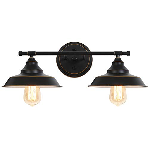 Bathroom Vanity Light 2 Light Wall Sconce Fixture, Black Industrial Wall Light in Bathroom Vanity Mirror Cabinets Dressing Table Farmhouse