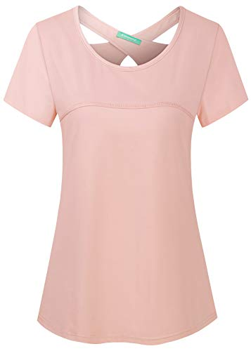Kimmery Pink Tops for Women,Short Sleeve Criss Cross Back Round Neck Aline Shirts Summer Quick Dry Outside Sailing Hiking Running Active-wear M