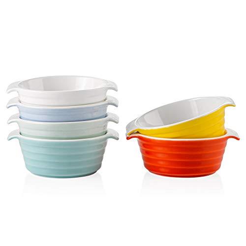 LOVECASA Molde para Hornear Redondo de Porcelana Bandeja para Horno mini Fuente para Tartas, Tapas, Lasañas, Pasteles, 160 ml, 12.5 x10 x 4.5cm, 6 Color