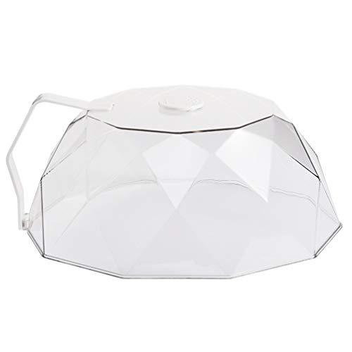 OSALADI - Cubierta para microondas y placa de cristal, tapa de cristal, tapa de protección para microondas para alimentos con mango (blanco)