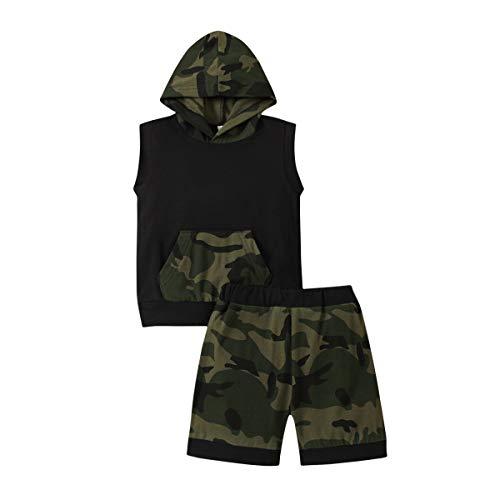 Tops sin mangas con capucha con bolsillo y pantalones cortos de impresión, traje de 2 piezas para niño pequeño con altura de 31.5 a 43.5 pulgadas