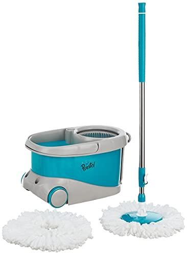 Amazon Brand - Presto! Flow Spin Mop with Plastic Basket, Big Wheels and 2 Microfibre Refills