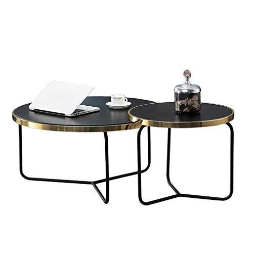 Salontafel, bijzettafel, modern roestvrij staal, verguld gehard glas, rond, bijzettafel, industrieel licht, luxe tafel