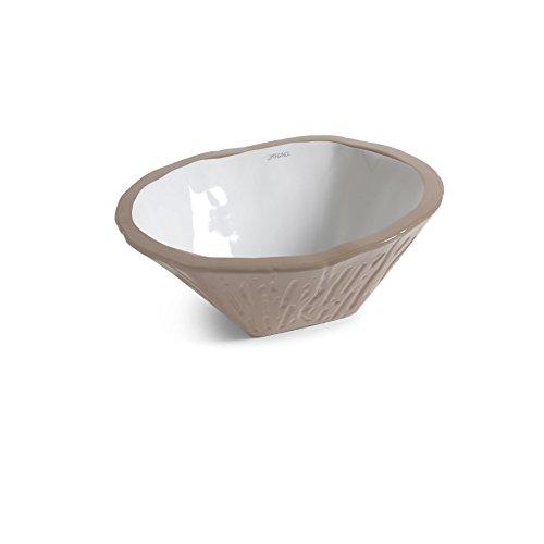 Vasque Lavabo à Poser/Suspendu Ovale Terra Argile Mat en céramique- 54x46xh20 cm (avec bassin blanc)