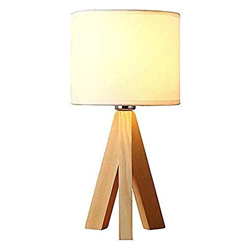 Lámpara de mesa Lámpara de mesilla con pantalla de tela blanca Toma de interruptor de botón E27 para 40W