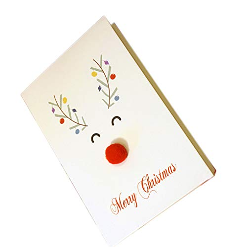 rongweiwang Unique Merry Xmas 3D Cartoon Animal Card Christmas tree card Happy New Year Christmas Card Postcard Holiday Children Gift Cards