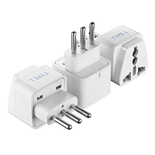 Ceptics Italy, Chile Universal Travel Plug Adapter (Type L) - Perfect for Traveling to Rome - Charge your Cell Phones, Laptops, Tablets - Grounded - 3 Pack (GP-12A-3PK)
