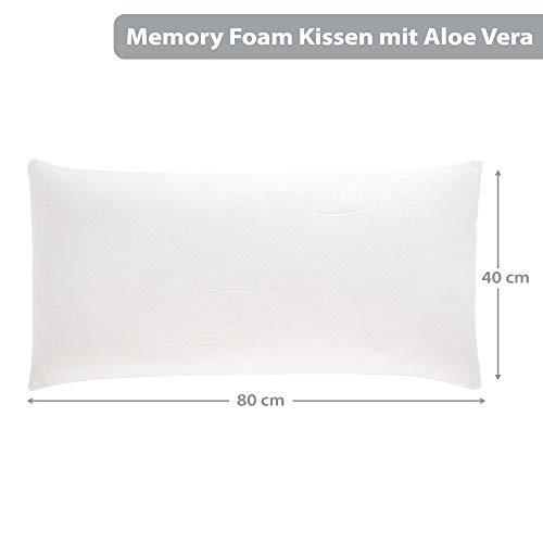 Schlafwohl Basic® Memory Foam Kissen 40x80cm Kopfkissen aus Viskoschaum I mit Aloe Vera I Orthopädisches Nackenstützkissen I Schlafkissen für Allergiker