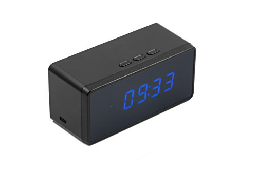 Technaxx Tischuhr mit FullHD Kamera TX-76 für Video/Fotoaufnahmen, Bewegungserkennung, Nachtsicht/Weckerfunktion, Überwachungskamera, schwarz
