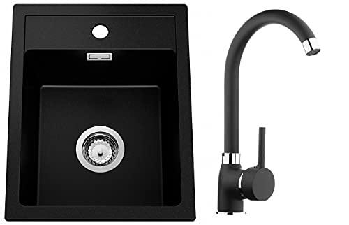 Spülbecken Schwarz 40 x 50 cm, Granitspüle + Küchenarmatur + Siphon, Küchenspüle ab 40er Unterschrank, Einbauspüle von Primagran
