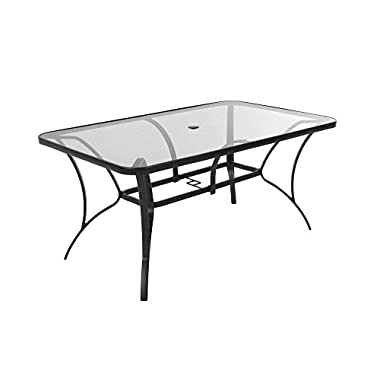 Cosco 88646GLGE Paloma Patio Tempered Glass Top Dining Table, 6 Piece, Gray